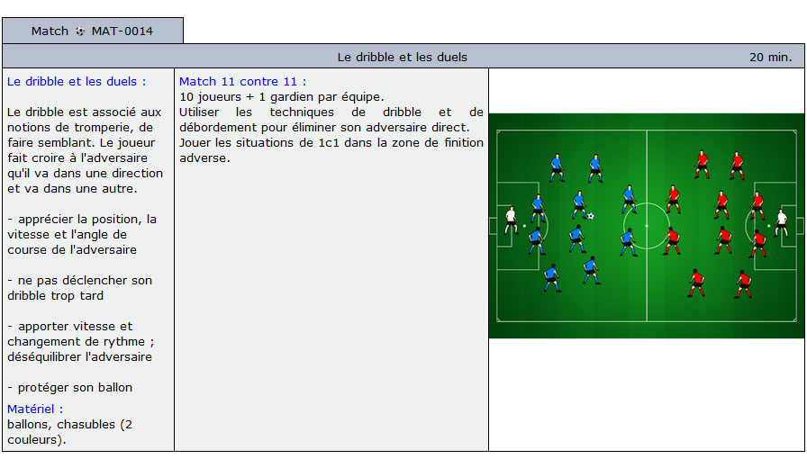 exercice match football 5014